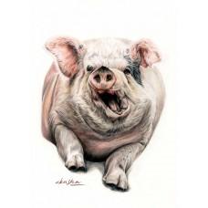 Pig In The Mud - Art Print