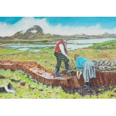 Cutting The Peat - Art Print