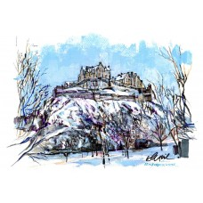 Edinburgh Castle In Winter - Art Print