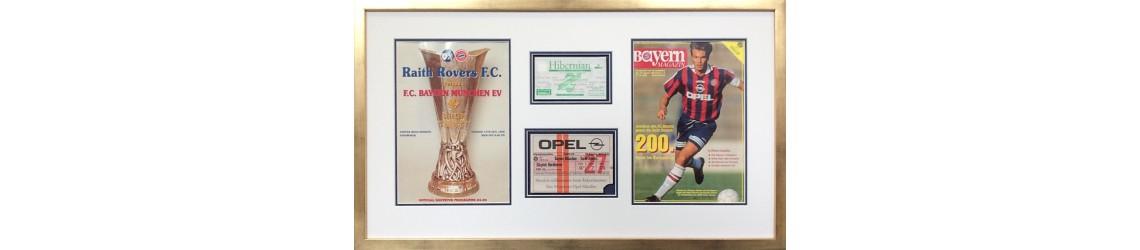 framed football programmes