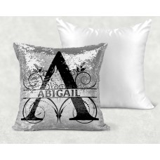 Personalised Cushion - Silver Sequin Reveal Name
