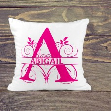 Personalised Cushion - pretty in pink name on white