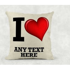 Personalised Cushion - I love name on linen