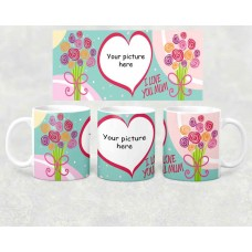 Photo Mug - I love you Mum with flowers